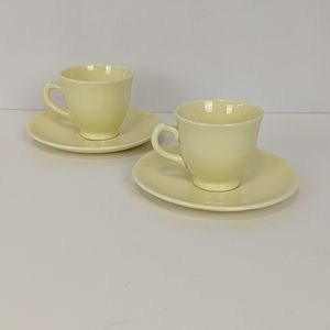 Vintage LuRay Pastels s/2 Yellow Cups Saucers MCM
